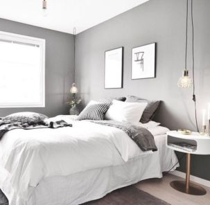 Unique white minimalist master bedroom design ideas 31