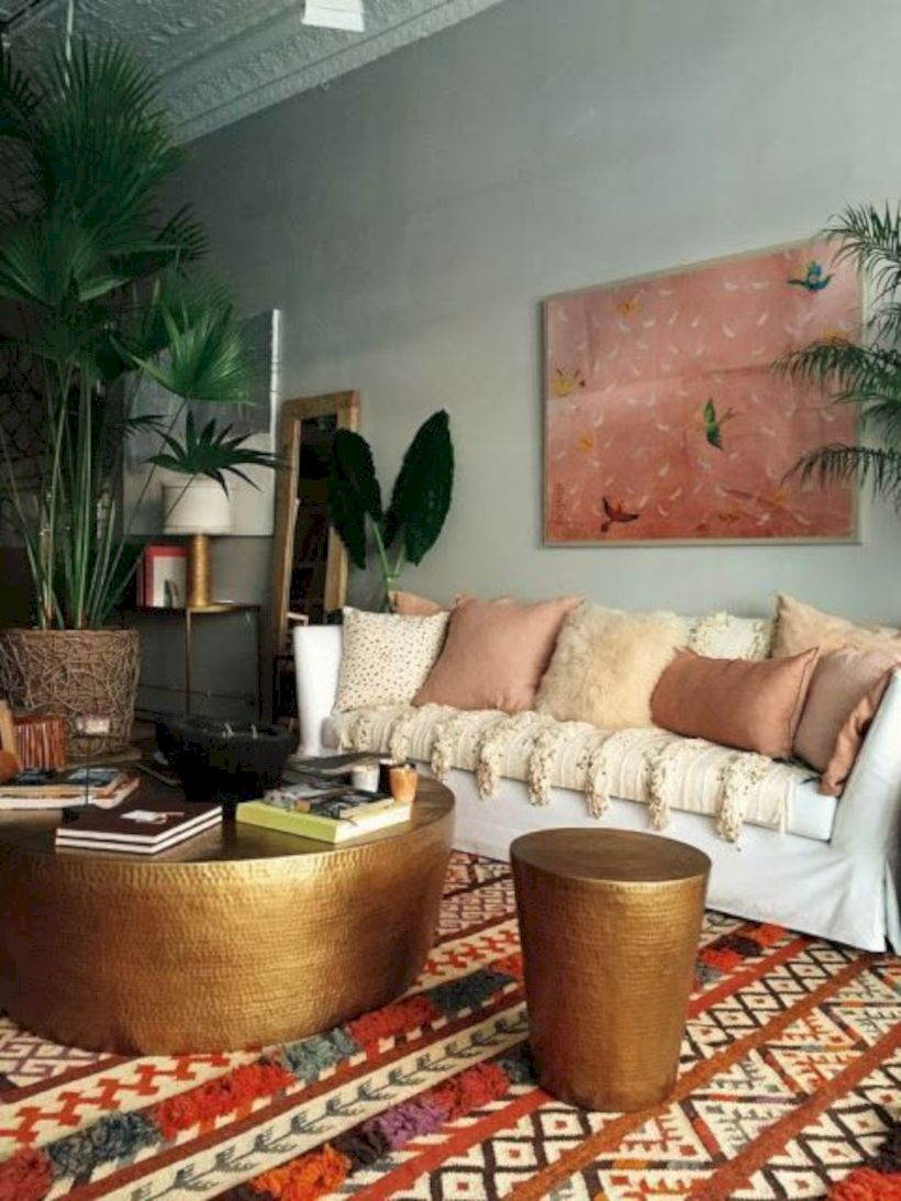 Cool living room designs ideas in boho style46