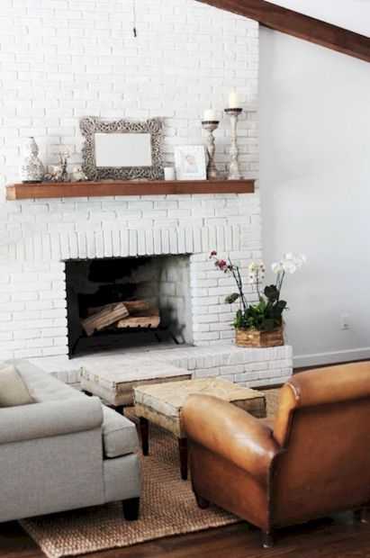 Attractive painted brick fireplaces ideas 01