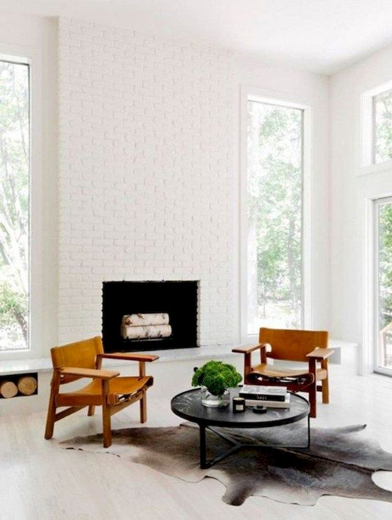 Attractive painted brick fireplaces ideas 06
