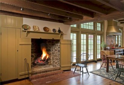 Attractive painted brick fireplaces ideas 20