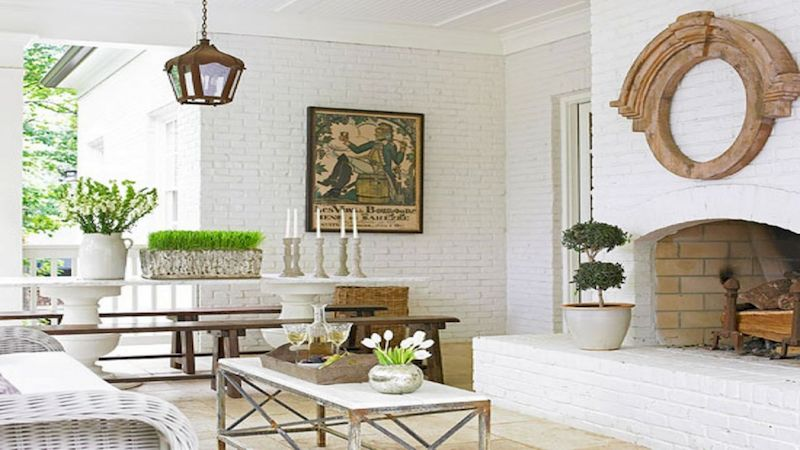 Attractive painted brick fireplaces ideas 24