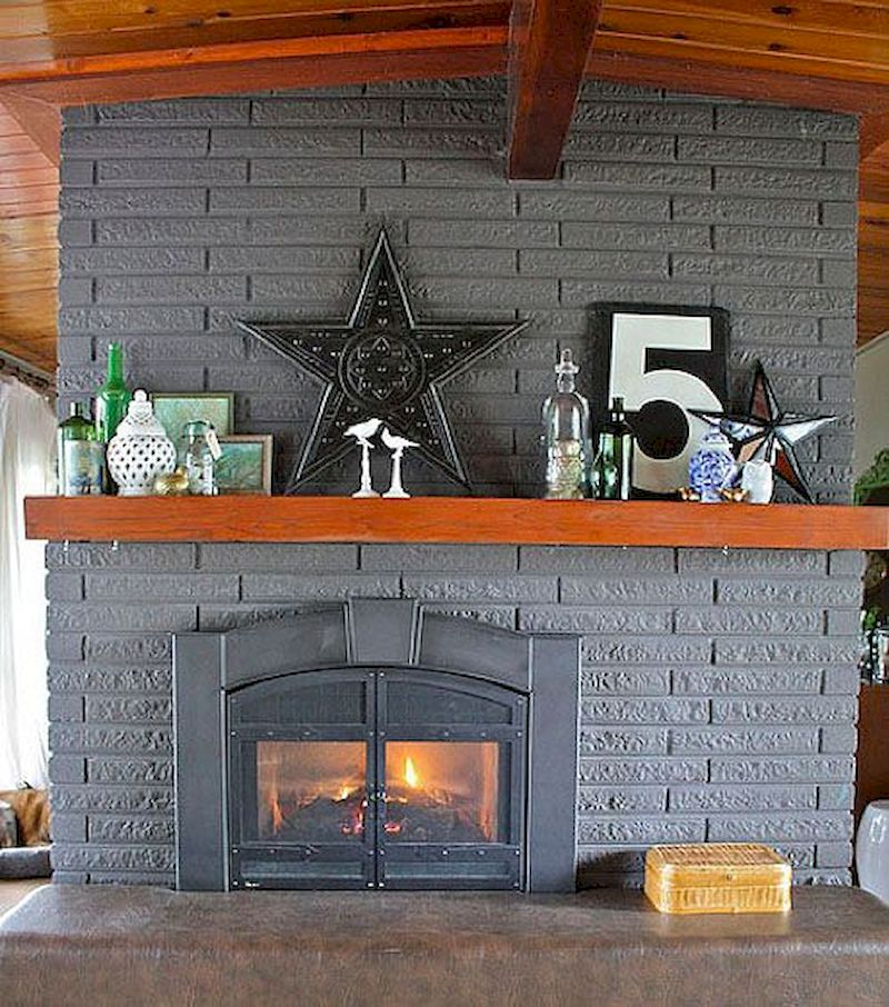 Attractive painted brick fireplaces ideas 25