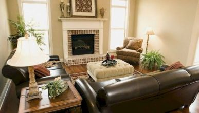 Attractive painted brick fireplaces ideas 35