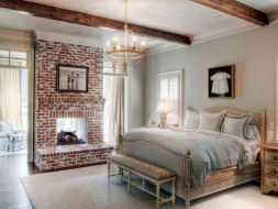 Attractive painted brick fireplaces ideas 43