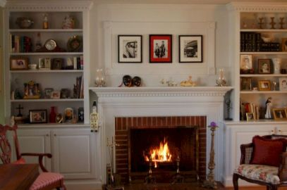 Attractive painted brick fireplaces ideas 46