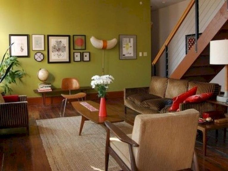 Awesome living room paint ideas by brown furniture 08