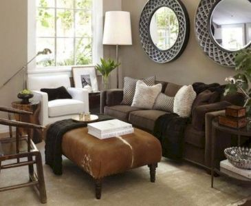 Awesome living room paint ideas by brown furniture 10