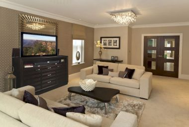 Awesome living room paint ideas by brown furniture 16