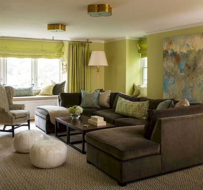 Awesome living room paint ideas by brown furniture 19