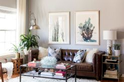Awesome living room paint ideas by brown furniture 26