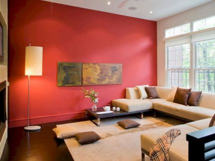 Awesome living room paint ideas by brown furniture 29
