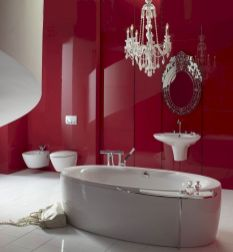 Magnificient red wall design ideas for bathroom 03