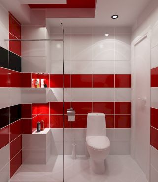 Magnificient red wall design ideas for bathroom 07