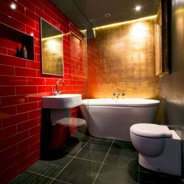 Magnificient red wall design ideas for bathroom 14