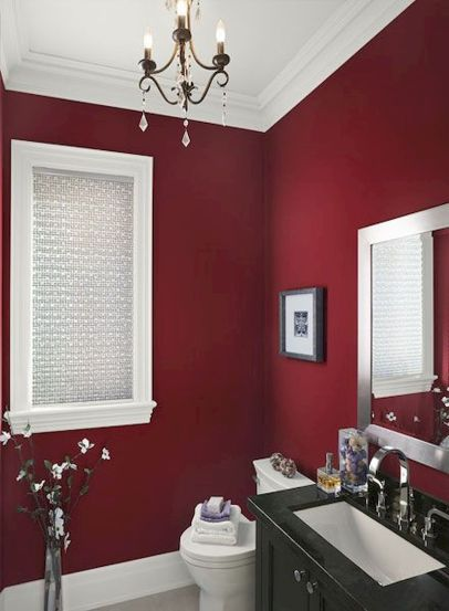 Magnificient red wall design ideas for bathroom 16