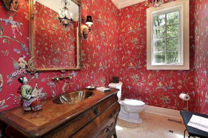 Magnificient red wall design ideas for bathroom 19
