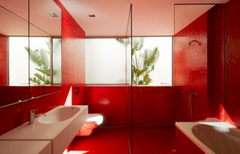 Magnificient red wall design ideas for bathroom 23