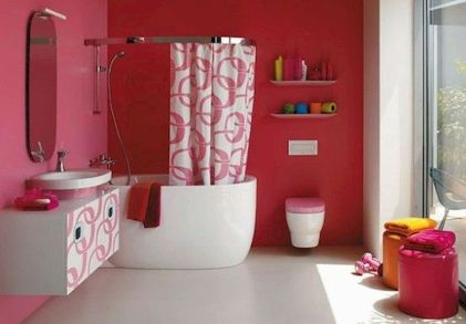 Magnificient red wall design ideas for bathroom 26