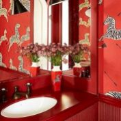 Magnificient red wall design ideas for bathroom 27