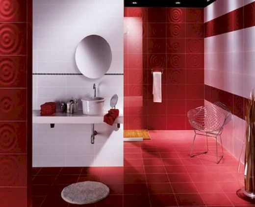 Magnificient red wall design ideas for bathroom 30