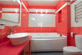 Magnificient red wall design ideas for bathroom 35