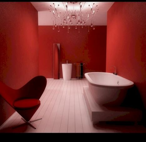 Magnificient red wall design ideas for bathroom 45