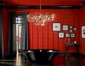 Magnificient red wall design ideas for bathroom 46