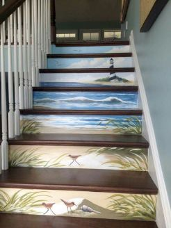 Unique coastal stairs design ideas for home this summer 33