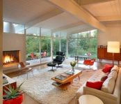 Unique mid century living room décor ideas 34