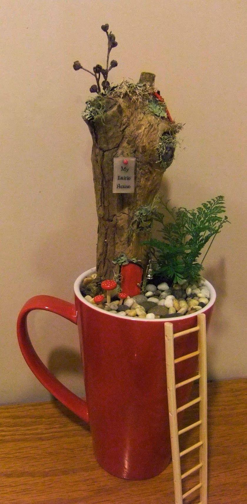 Impressive mini garden mug ideas to add beauty on your home 34