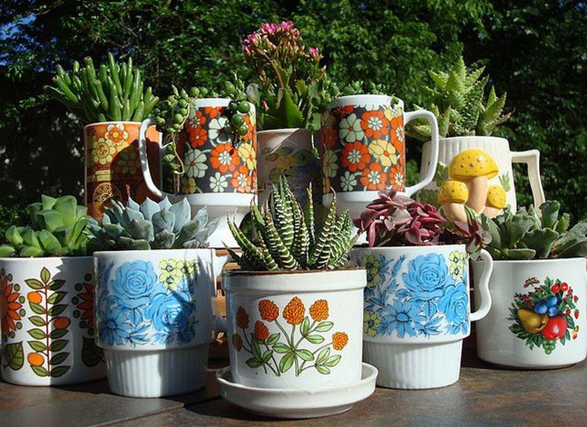Impressive mini garden mug ideas to add beauty on your home 43