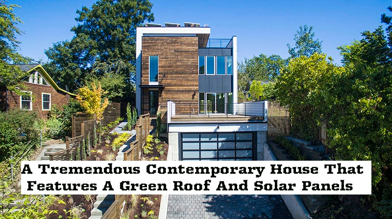 A Tremendous Contemporary House That Features A Green Roof And Solar Panels