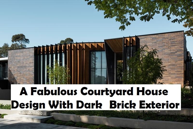 A fabulous courtyard house design with dark brick exterior