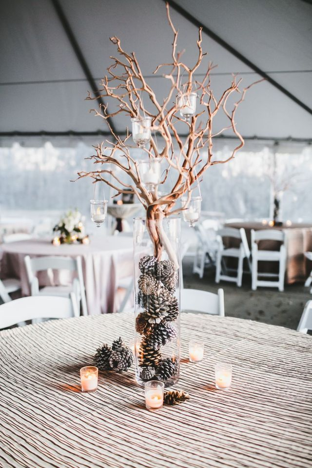 Branch and votive centerpiece Perfectly Impressive Winter Rustic Centerpieces Where Your Guest Can Not Deny