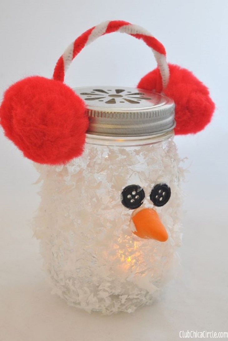 Snowman mason jar luminary Creative Winter Crafts Ideas That Make Your Snow Day Stay On You