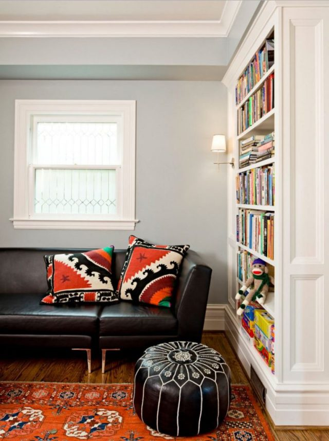 Pouf for fancy footrest in library Best Parts Of Home To Have Handy Uses For The Pouf As An Inviting Space