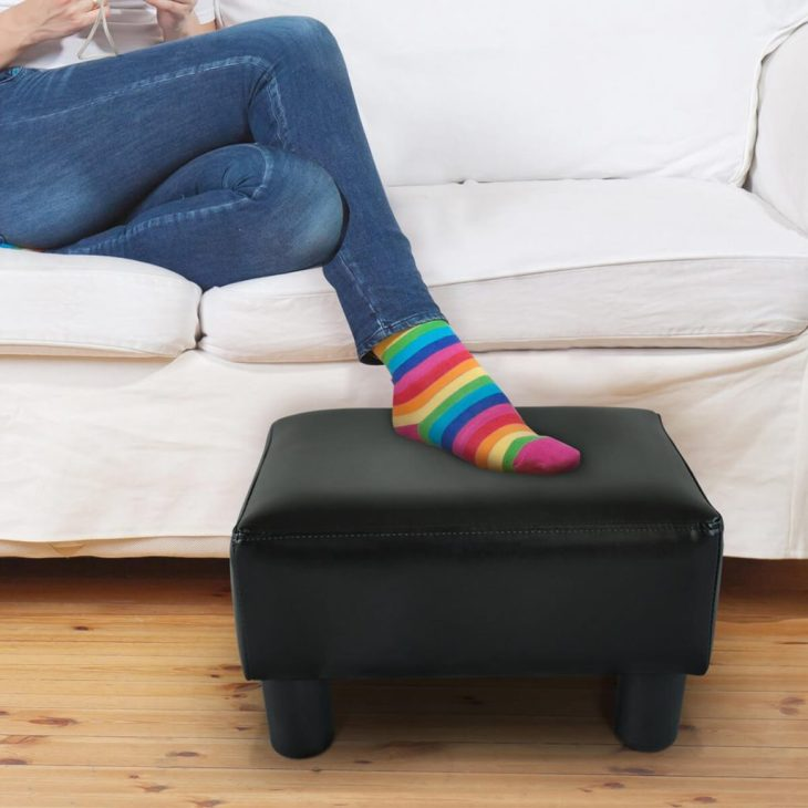 Rectangular faux leather ottoman footrest in black Foremost Ottomans To Have Comfortable And Relaxing Spot