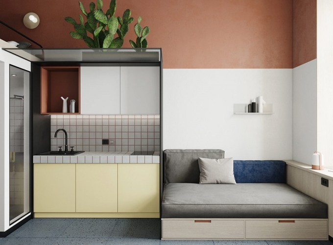 This super tight studio apartment looks fabulous for single living