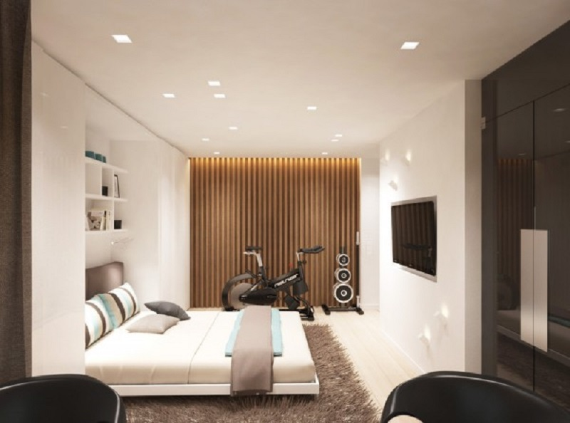 Studio apartment design for a young couple with a variety of activities within a single room 2