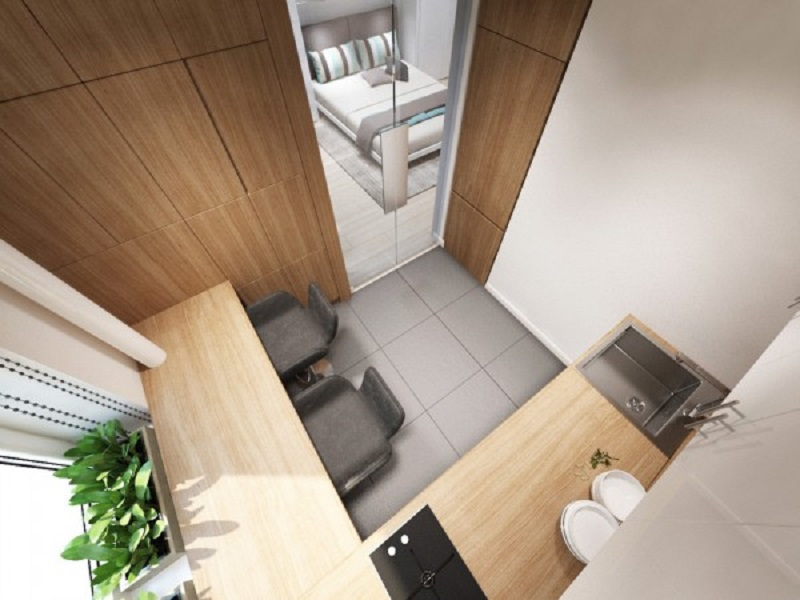 Studio apartment design for a young couple with a variety of activities within a single room 5