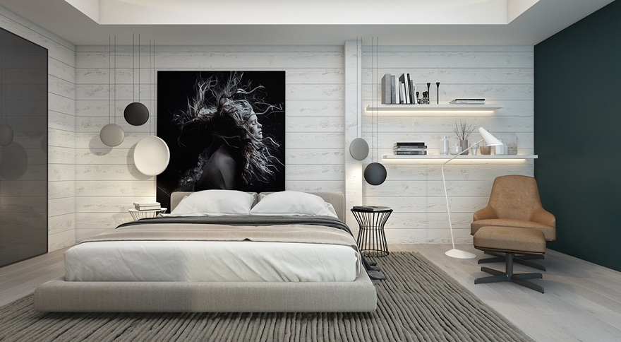 Artistic Monochromatic Bedroom With Subtle White-Painted Panels As A Backdrop