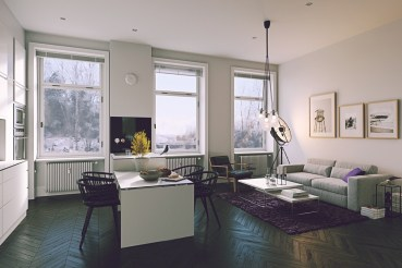 Black-floors-living-kitchen