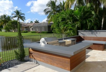 Ultra modern outdoor kitchen table & bench   outdoor living florida intended for outdoor kitchen table