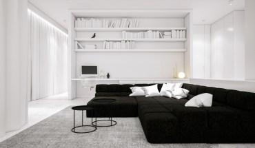 Black-furniture-living-room-ideas-large-bookshelf-desk-study-area-round-end-tables-large-seating-area