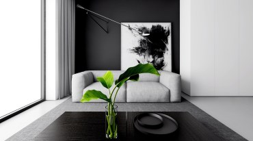 Dramatic-monochrome-lounge-palm-leaves-in-a-vase-large-black-and-white-abstract-wooden-coffee-table-indoor-plants-simple-white-couch-abstract-wall-art-wall-lamo-large-window