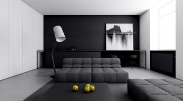 Minimalist-italian-living-room-quilted-futons-cameraman-light-floor-lamp-study-area-ottoman-black-coffee-table-abstract-wall-art-lemons
