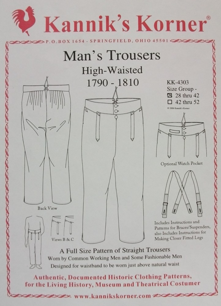 Kannick's Korner Man's Fall-Front Trousers 1790-1810 (1/4)