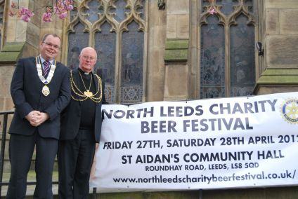 The Lord Mayor of Leeds Rev Alan Taylor Lord Mayor of Leeds launches the first North Leeds Charity Beer Festival with President David Hawkin of the Rotary Club of Roundhay, Leeds.