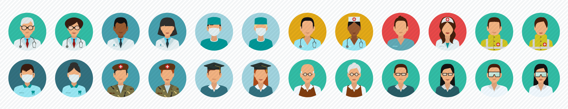 People_Medical_eduction_Science flat icons